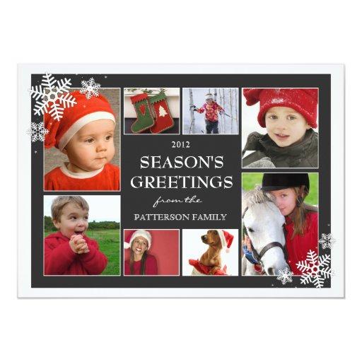 Collage feliz de la foto de los copos de nieve 8 invitaciones personalizada