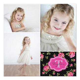 Collage femenino de la foto del monograma floral fotografías