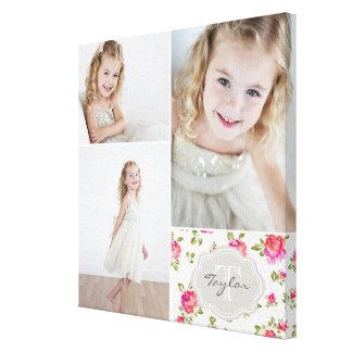 Collage femenino de la foto del monograma floral impresión en tela
