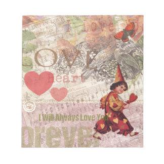 Collage femenino del amor del vintage del corazón blocs de papel