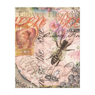 Collage femenino hermoso de la abeja reina del impresión en lienzo estirada