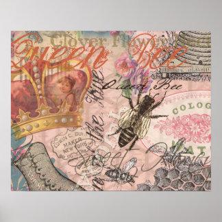 Collage femenino hermoso de la abeja reina del póster
