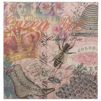 Collage femenino hermoso de la abeja reina del servilletas