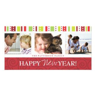 Collage festivo de la foto del remolino de la tarjetas personales con fotos