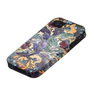 Collage floral abstracto retro colorido iPhone 4 carcasas