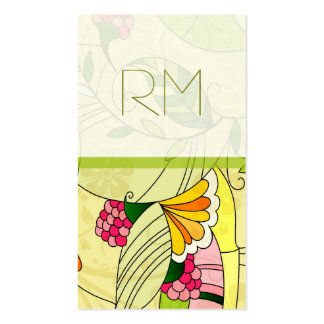 Collage floral abstracto retro colorido tarjeta de negocio