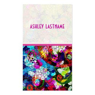 Collage floral abstracto retro colorido plantillas de tarjeta de negocio