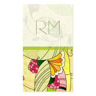 Collage floral abstracto retro colorido tarjetas de visita
