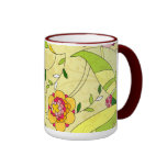 Collage floral abstracto retro taza de café