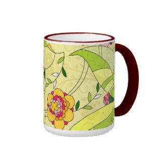 Collage floral abstracto retro taza de dos colores