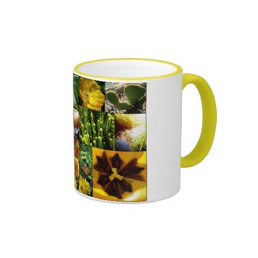 Collage floral amarillo taza de dos colores