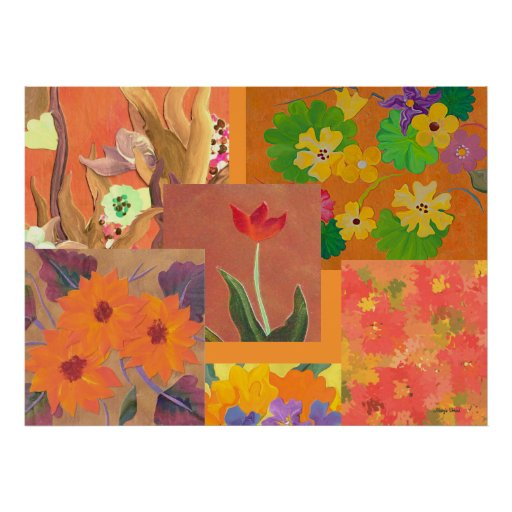 collage floral anaranjado impresiones