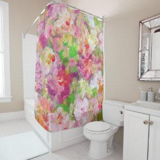 Collage floral colorido de las acuarelas cortina de baño