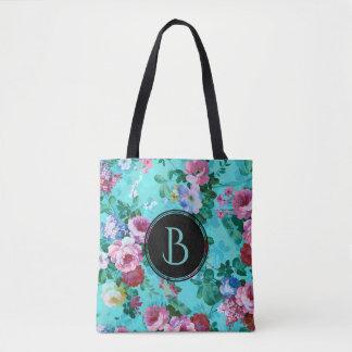 Collage floral de los rosas coloridos del vintage bolsa de tela
