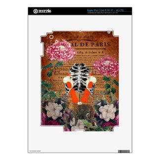 Collage floral de Ribcage de la mujer del vintage iPad 3 Pegatina Skin