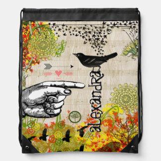 Collage floral del mirlo de la flecha del vintage mochilas