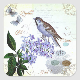 Collage floral del vintage del texto francés pegatina cuadrada