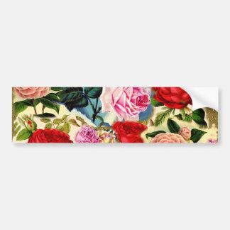 Collage floral elegante bonito de la rosaleda del etiqueta de parachoque