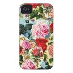 Collage floral elegante bonito de la rosaleda del  iPhone 4 Case-Mate protectores