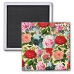 Collage floral elegante bonito de la rosaleda del  imán de nevera