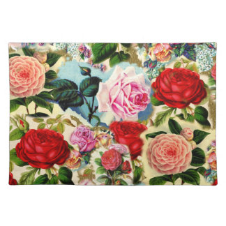 Collage floral elegante bonito de la rosaleda del  manteles