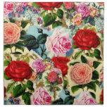 Collage floral elegante bonito de la rosaleda del  servilleta de papel