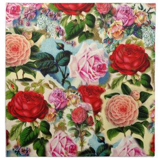 Collage floral elegante bonito de la rosaleda del  servilleta