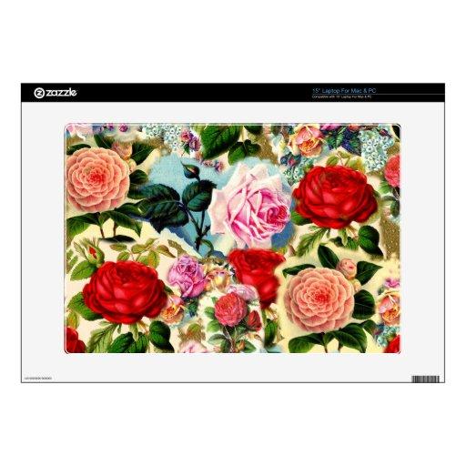 Collage floral elegante bonito de la rosaleda del  portátil calcomanías