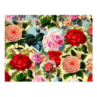 Collage floral elegante bonito de la rosaleda del tarjeta postal