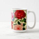 Collage floral elegante bonito de la rosaleda del  tazas