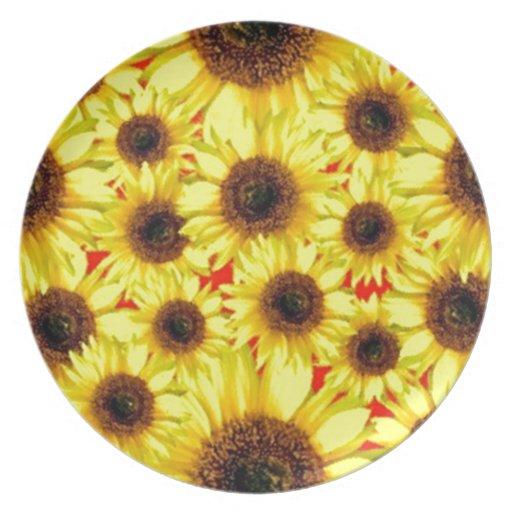 Collage floral macro del girasol alegre soleado plato para fiesta
