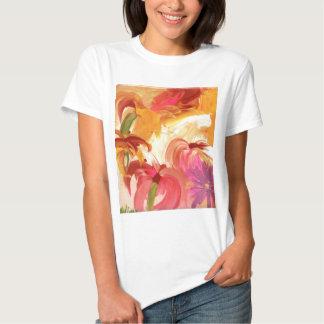 Collage floral pintado a mano bonito brillante camisas