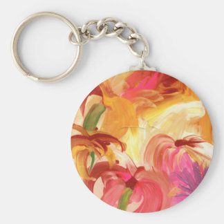 Collage floral pintado a mano bonito brillante llavero redondo tipo pin