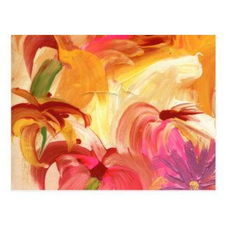 Collage floral pintado a mano bonito brillante postal
