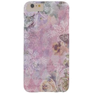 Collage floral púrpura del vintage lamentable funda de iPhone 6 plus barely there