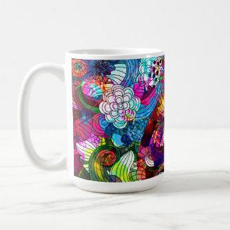 Collage floral romántico retro colorido taza de café