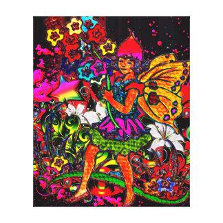 Collage floral y rosado del chica de la mariposa d lona envuelta para galerias