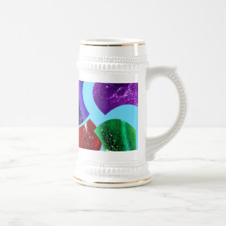 collage fluid,colorful abstract 18 oz beer stein