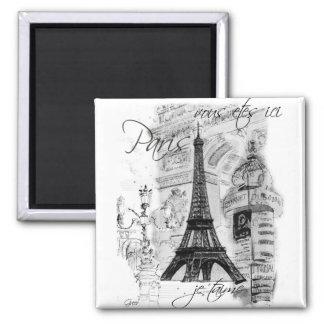 Collage francés de la escena de la torre Eiffel de Imán Cuadrado