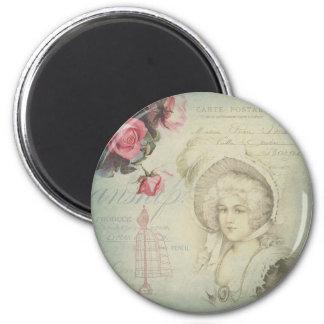 Collage francés de señora Pink Roses Dress Form de Imán Redondo 5 Cm