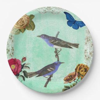 Collage francés del estilo del pájaro del vintage plato de papel de 9 pulgadas