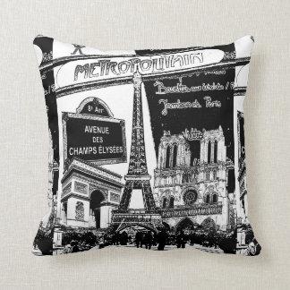 Collage fresco de los ejemplos de la foto de París Cojín