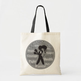 Collage fuerte del lema de la lucha del cáncer de bolsa tela barata