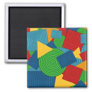 Collage geométrico de las formas (colores brillant imanes para frigoríficos