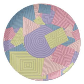 Collage geométrico de las formas (colores femenino plato de comida