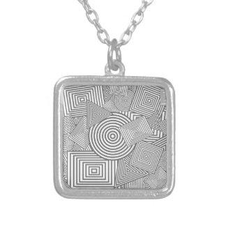 Collage geométrico de las formas (gris y blanco) collares personalizados