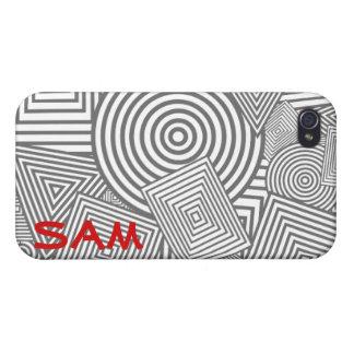 Collage geométrico de las formas (gris y blanco) iPhone 4 funda