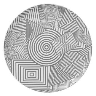 Collage geométrico de las formas (gris y blanco) plato de comida