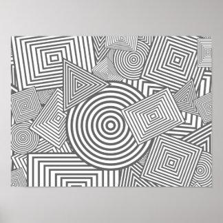 Collage geométrico de las formas (gris y blanco) póster