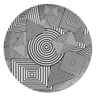 Collage geométrico de las formas (negro y blanco) plato de comida